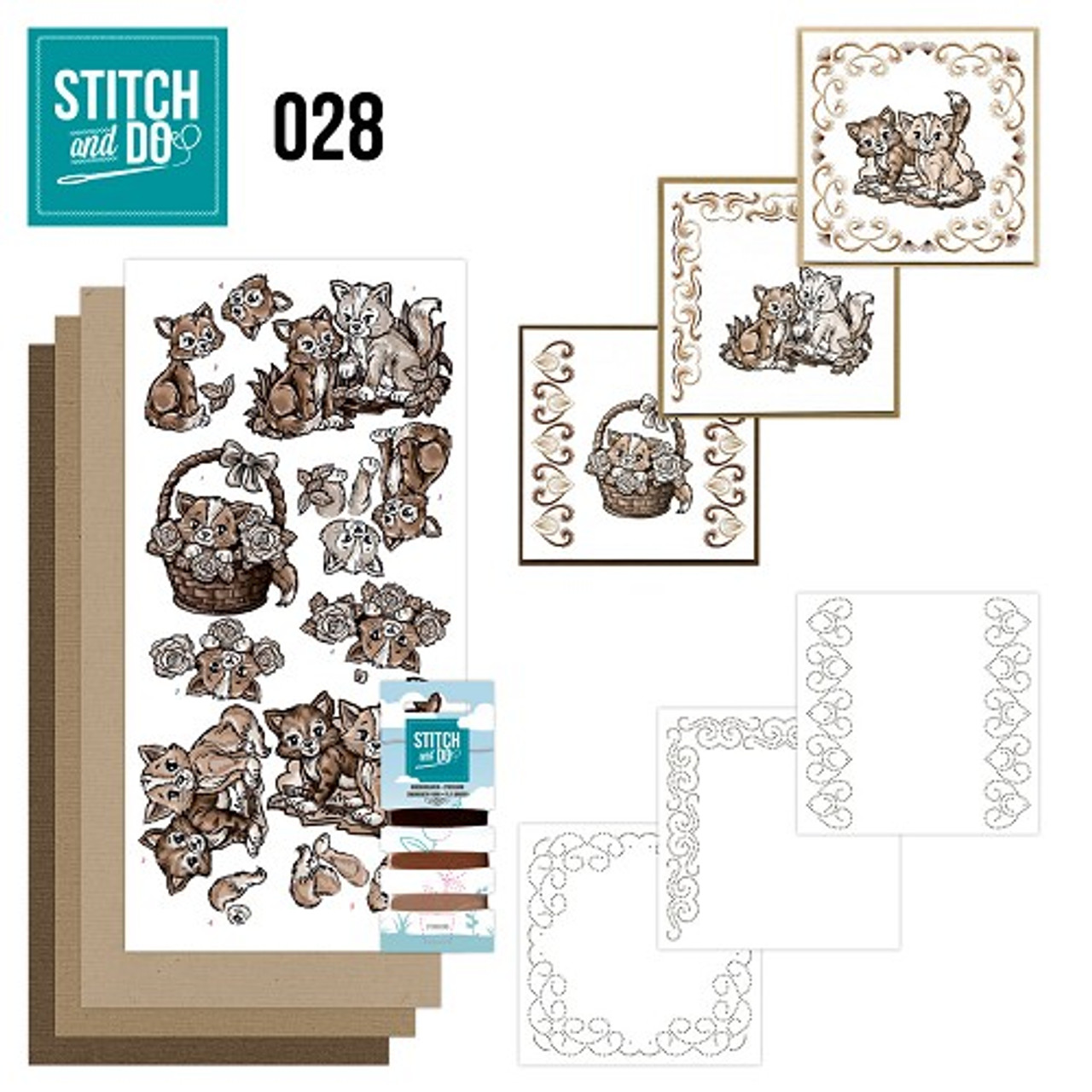 Stitch and Do 28 - Card Embroidery Kit - Brown Cats
