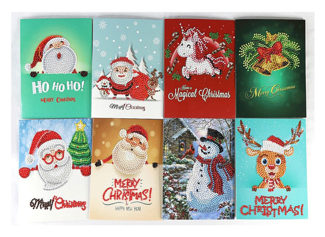 5D Diamond Painting Christmas Card Kit - Set of 8