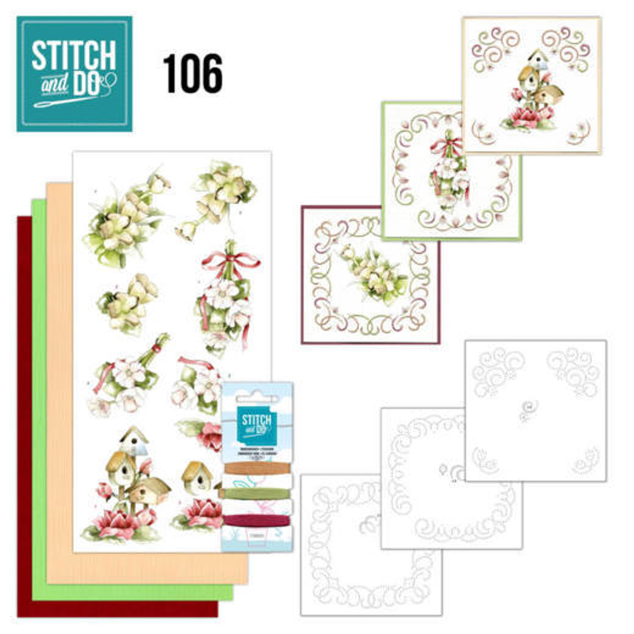 Stitch and Do 106 - Card Embroidery Kit - Pink Spring Flowers
