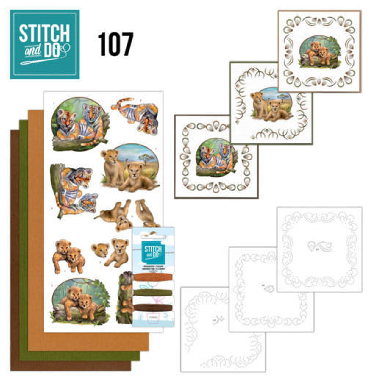 Stitch and Do 107 - Card Embroidery Kit - Wild Animals