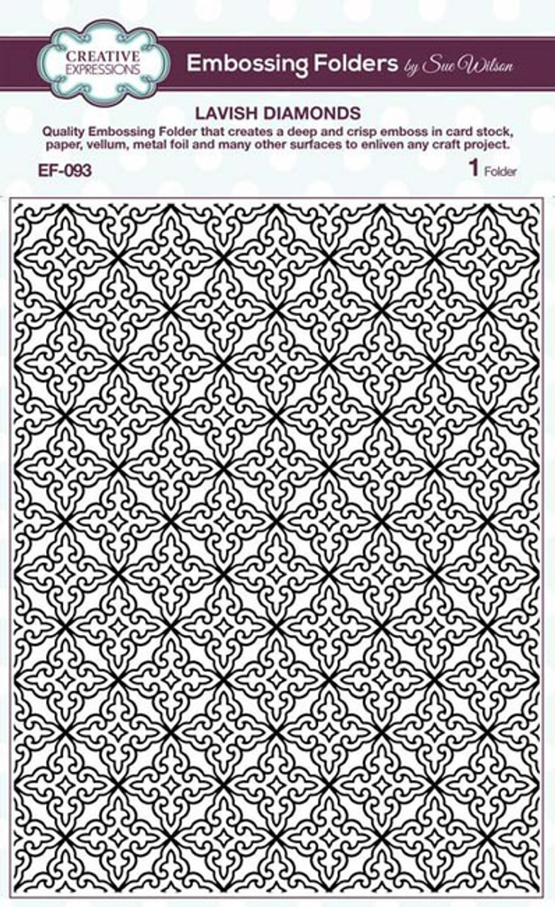 "Sue Wilson Embossing Folder 5 3/4"" x 7 1/2"" - LAVISH DIAMONDS EF-092"