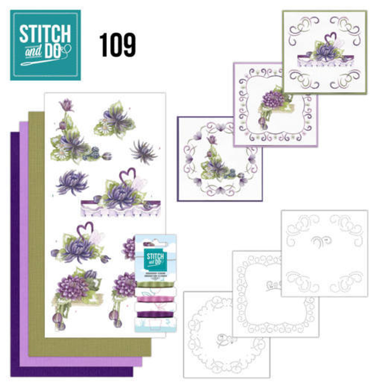 Stitch and Do 109 - Card Embroidery Kit - Summer Dahlia's
