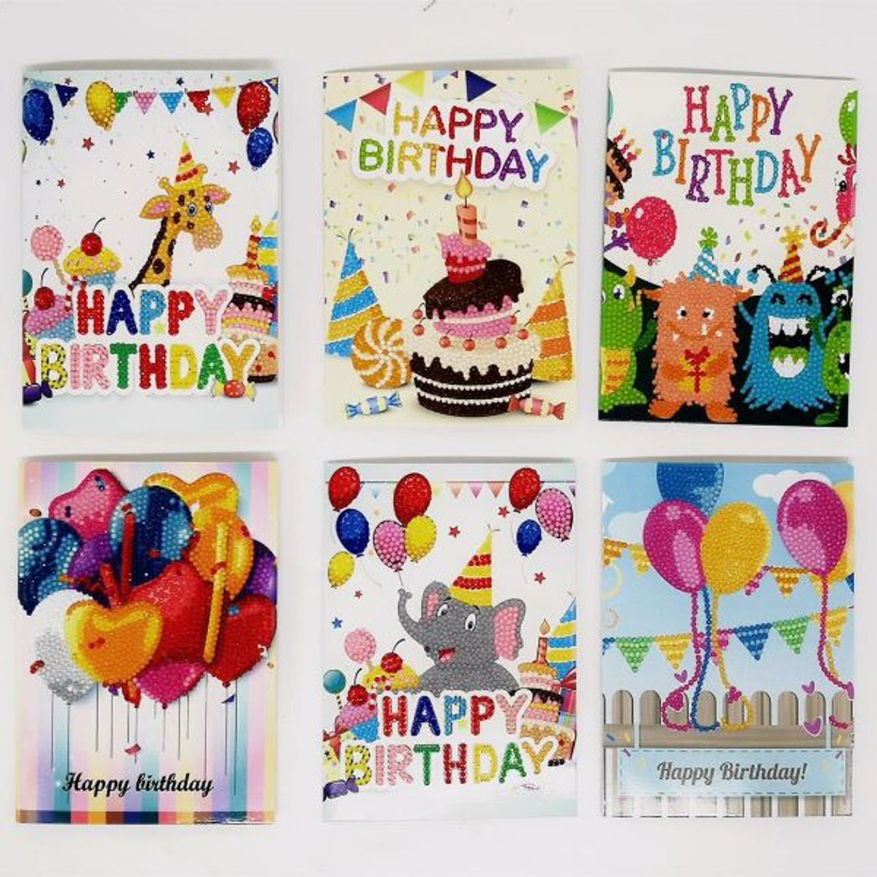 5D DIY Diamond Painting Birthday Card Kit - Set of 6
