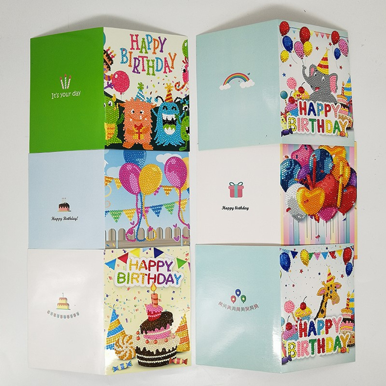 5D DIY Diamond Painting Birthday Card Kit - Set of 8