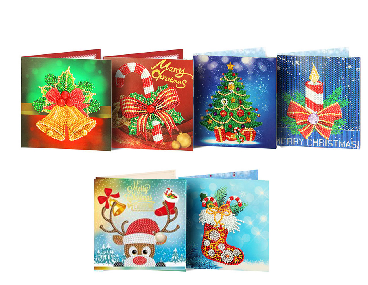 5D DIY Diamond Painting Christmas Card Kit - Set of 6