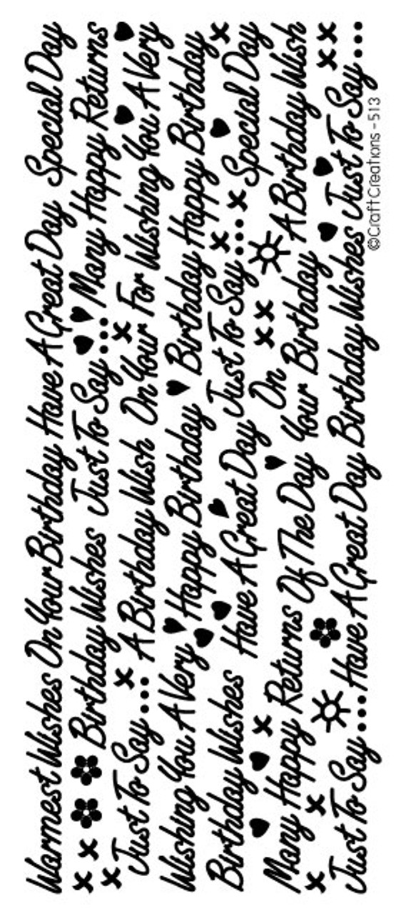 Peel-Off - Mixed Birthday Wishes SILVER 513