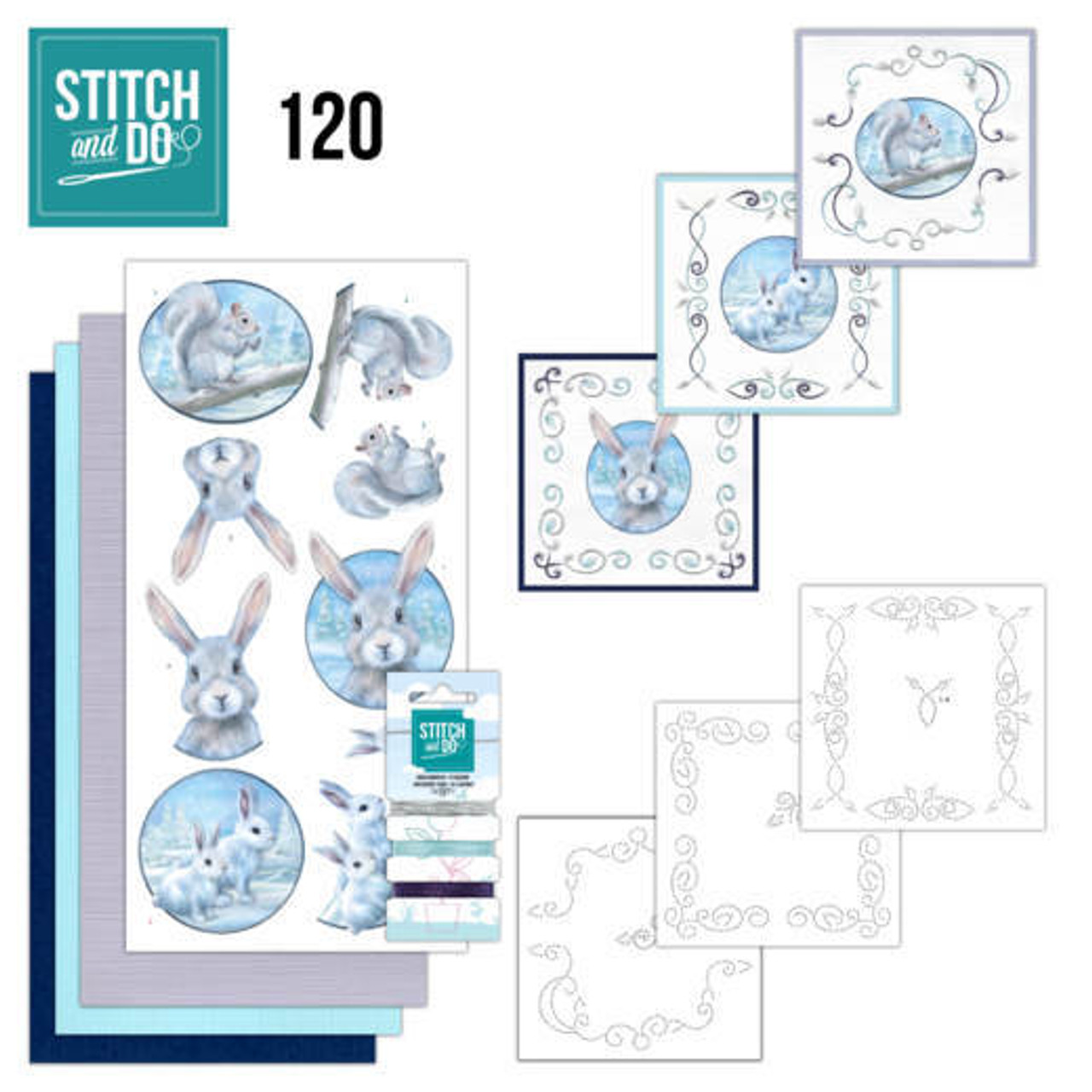 Stitch and Do 120 - Card Embroidery Kit - Arctic Friends