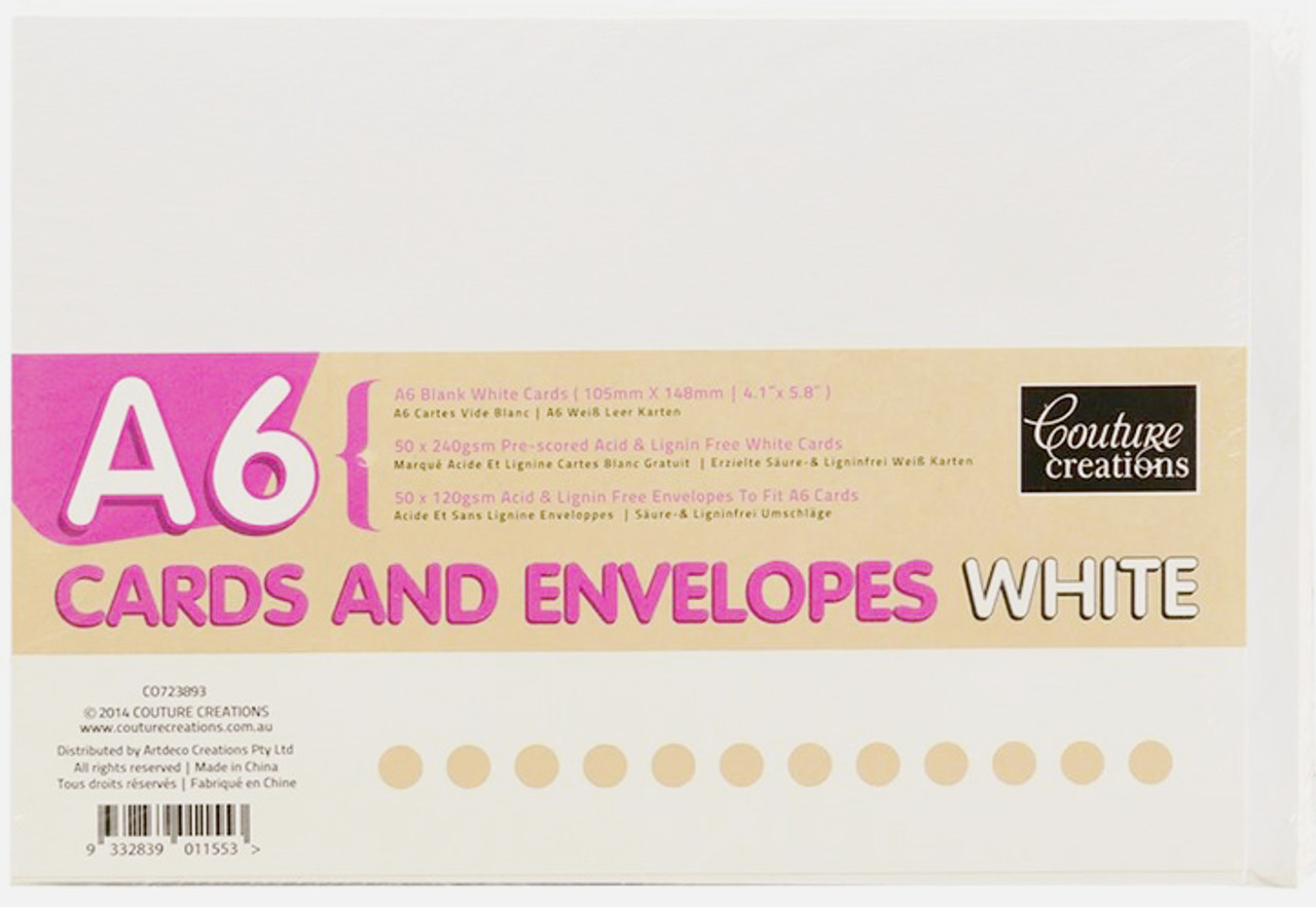 Card & Envelopes Set A6 Smooth Texture 50 Pack 240/120gsm - WHITE