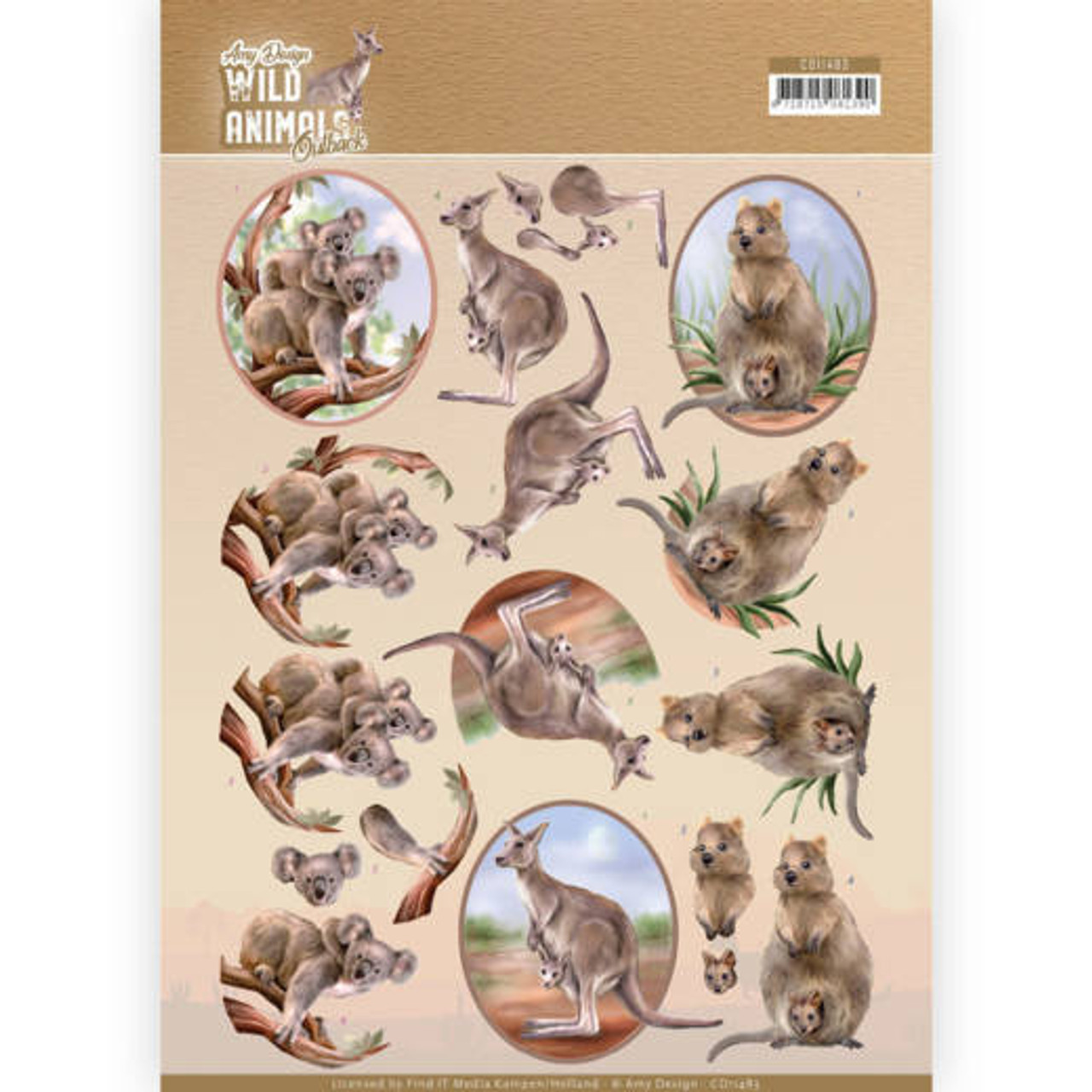 3D Sheet Amy Design  - Wild Animals Outback  Kangaroo CD10483