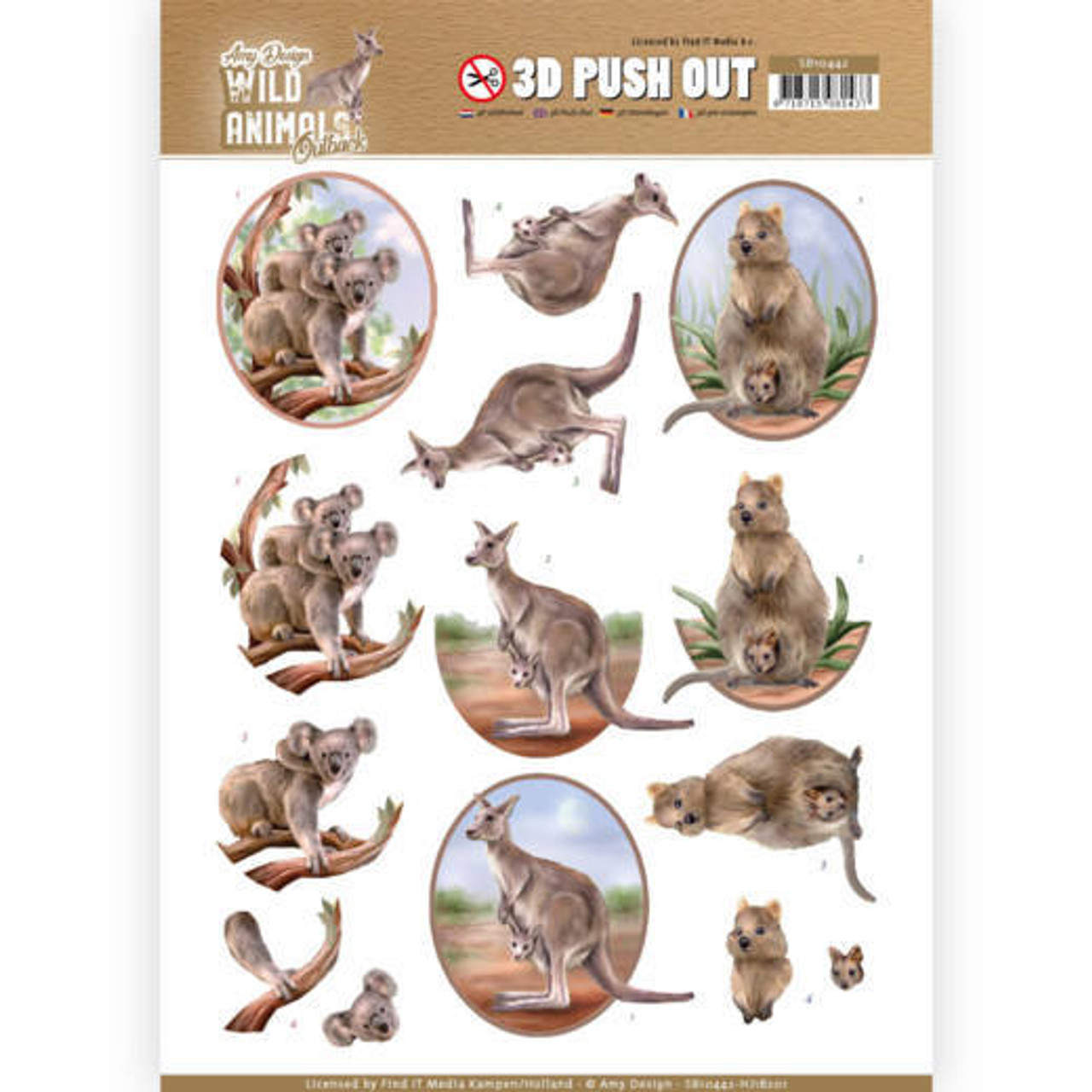 3D Push Out Sheet  Amy Design  - Wild Animals Outback - Kangaroo SB10442