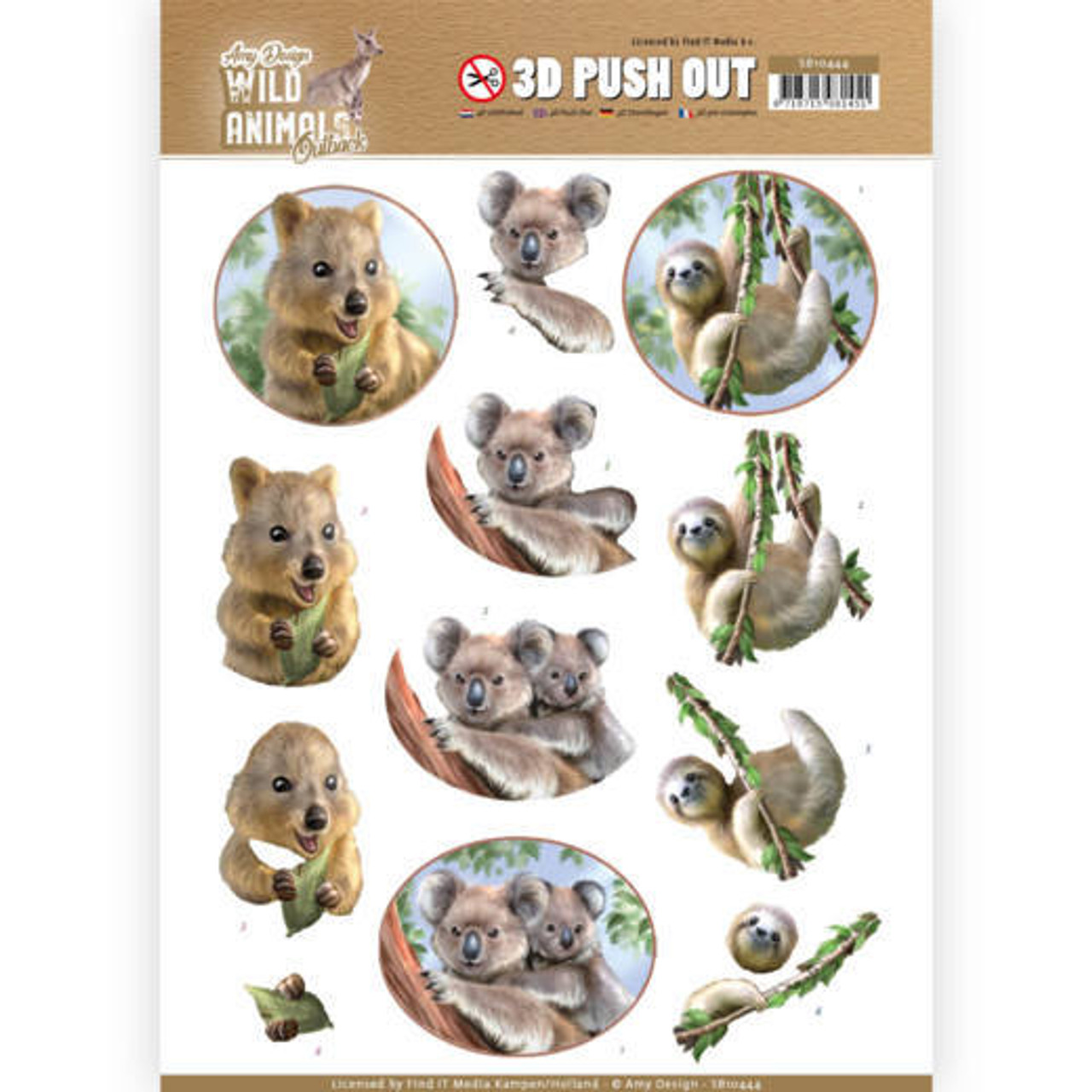 3D Push Out Sheet  Amy Design  - Wild Animals Outback - Koala SB10444