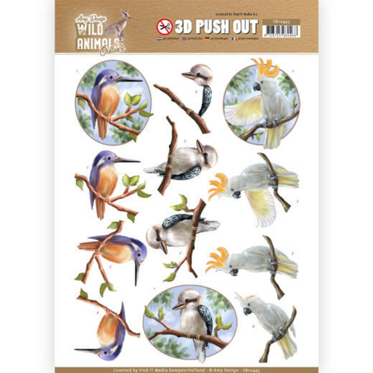 3D Push Out Sheet  Amy Design  - Wild Animals Outback - Parrot SB10445
