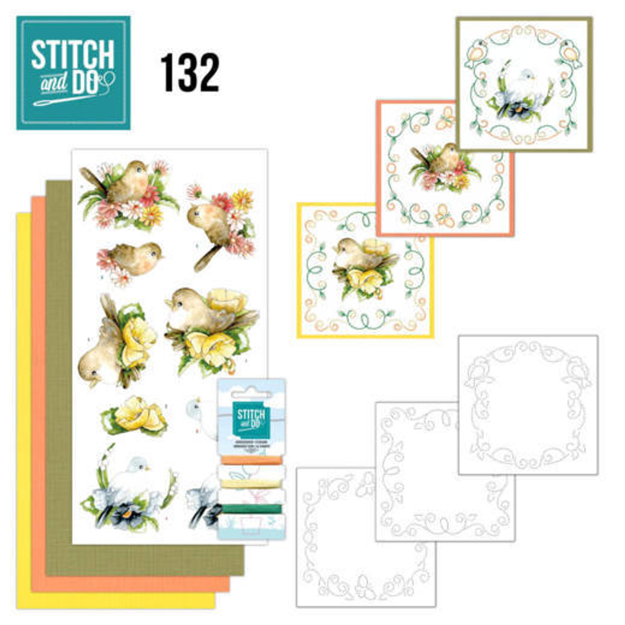 Stitch and Do 132 - Card Embroidery Kit - Delicate Flowers