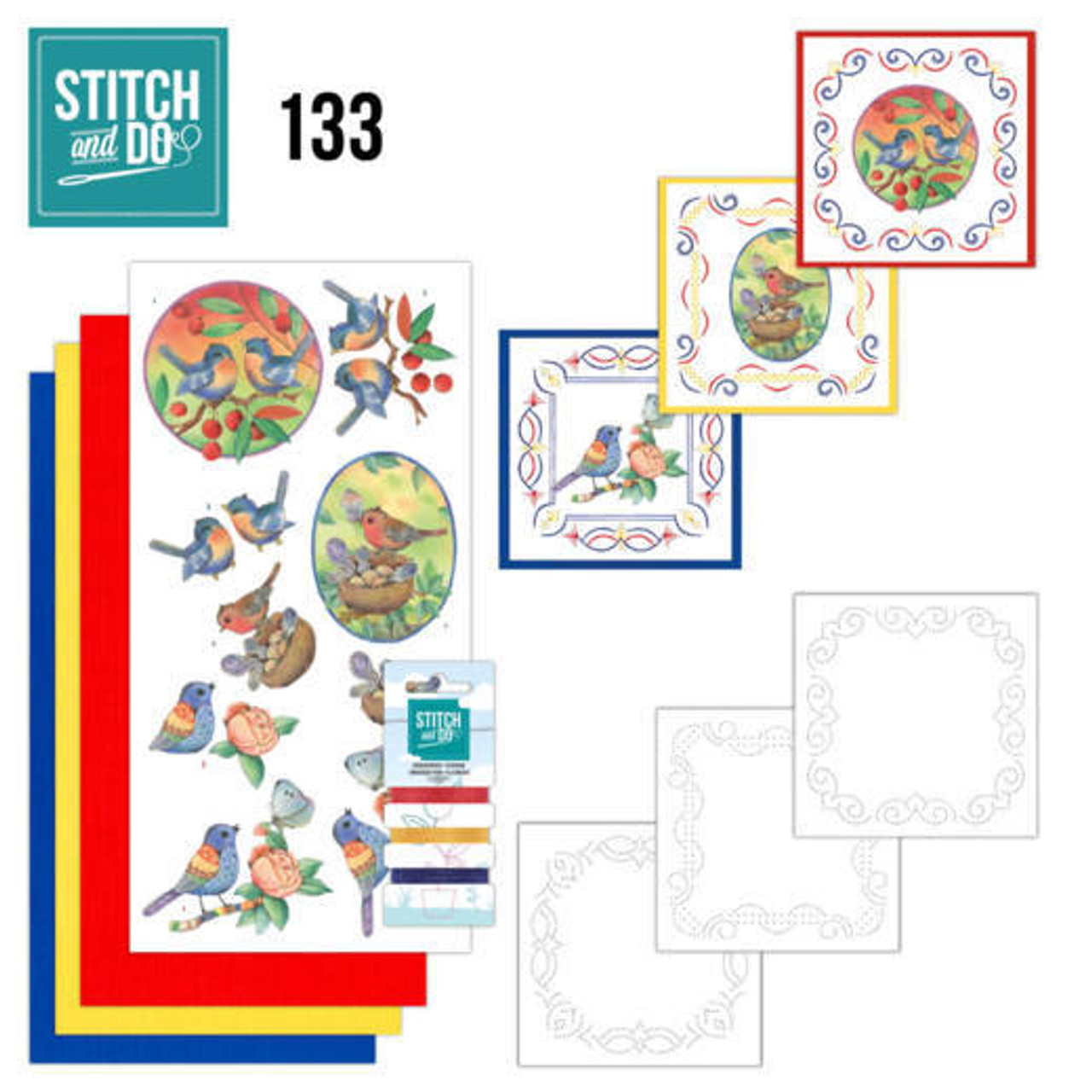 Stitch and Do 133 - Card Embroidery Kit - Blue Birds