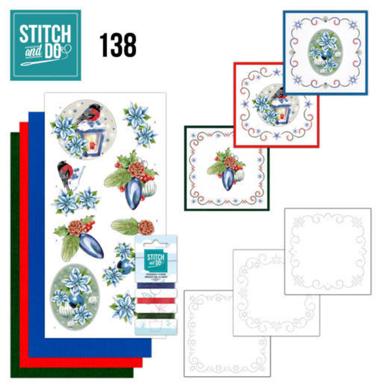 Stitch and Do 138 - Card Embroidery Kit - Christmas Flowers/Lantern