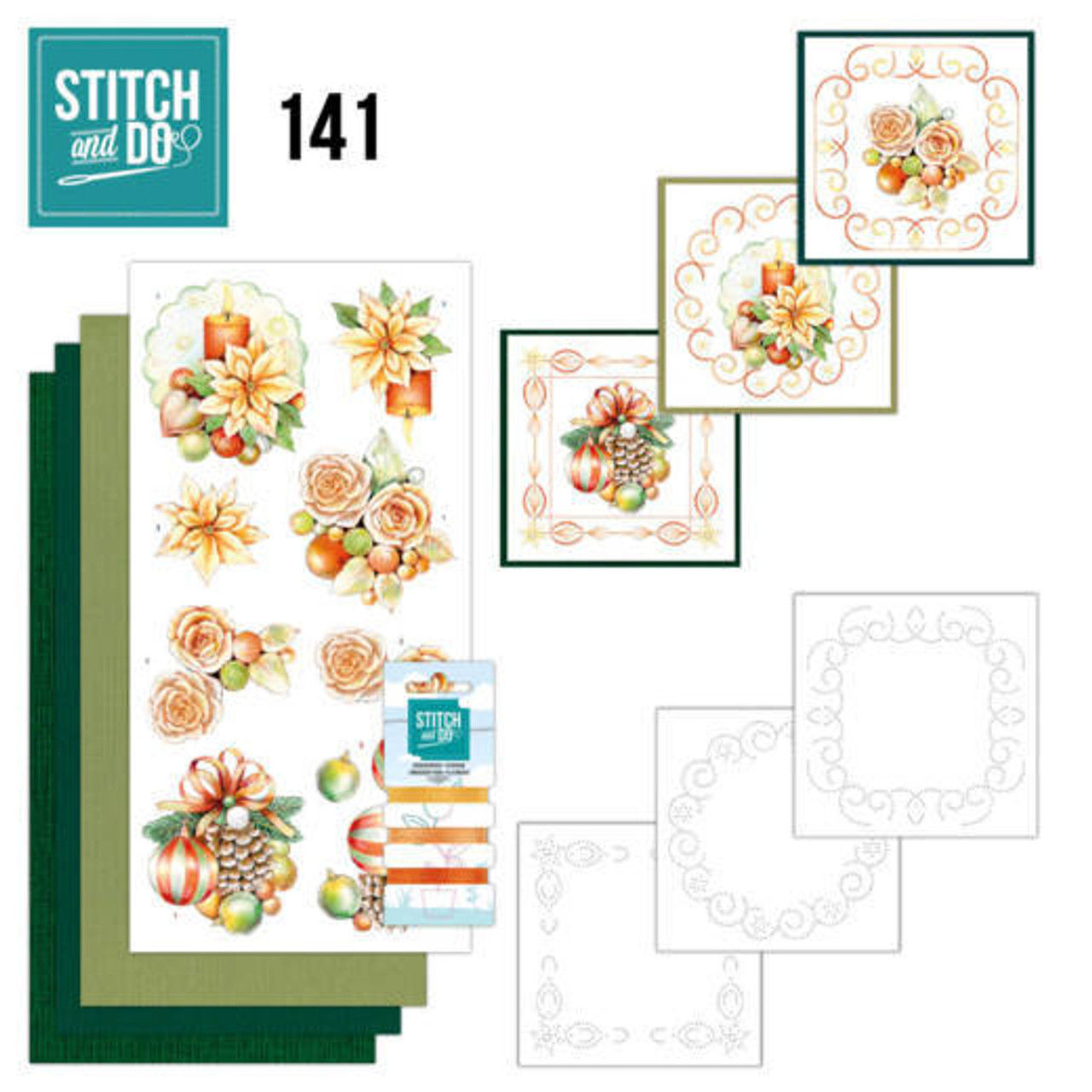 Stitch and Do 141 - Card Embroidery Kit -Salmon Christmas Baubles