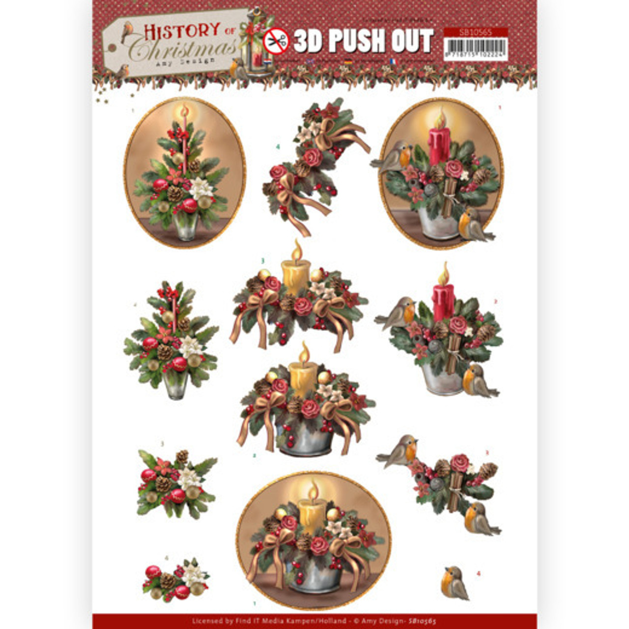 3D Push Out Sheet  Amy Design  - Christmas Candles SB10565