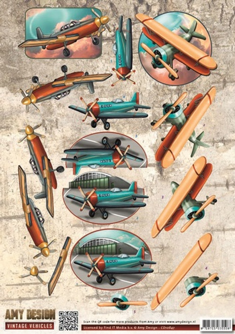 3D Sheet Amy Design Vintage Vehicles - Planes CD10847