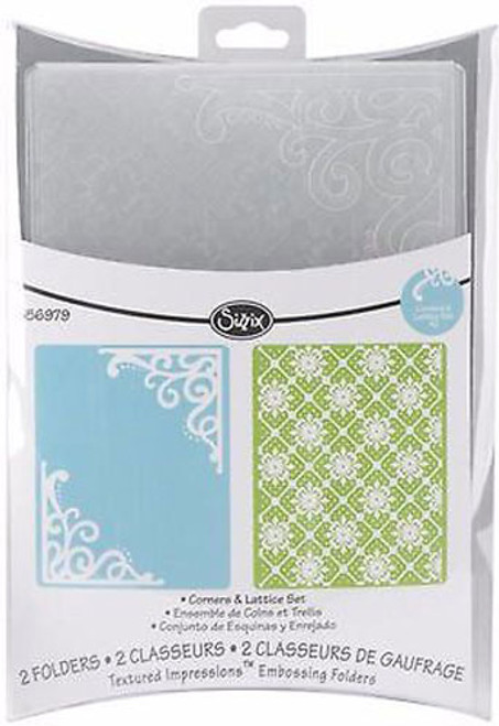 Sizzix embossing folder Corners & Lattice Set