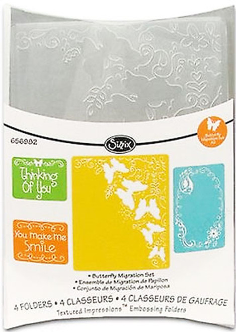 Sizzix Textured Impressions Embossing Folder 4 Pack - BUTTERFLY MIGRATION SET