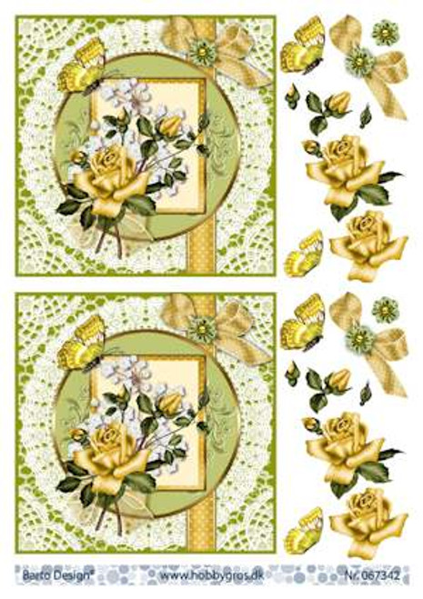 3D Sheet Barto Design A4 - Yellow Rose 67342