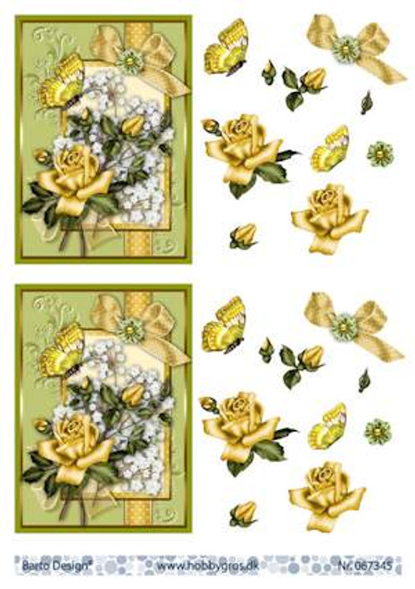 3D Sheet Barto Design A4 - Yellow Rose  67345