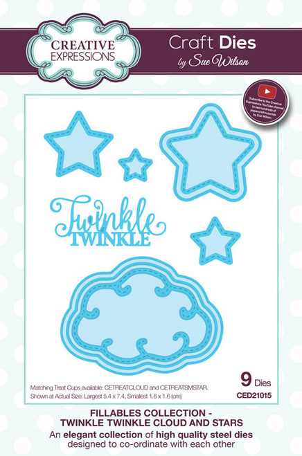 Sue Wilson Fillables Collection Dies - Twinkle Twinkle Cloud & Stars  CED21015