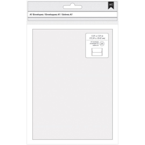 "A7 Premium Envelopes - American Crafts  (5.25"" x 7.25"") - WHITE 25Pk"