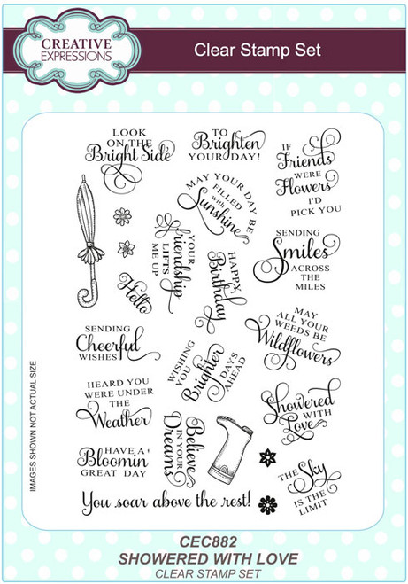 Sue Wilson A5 Clear Stamps Showered With Love CEC882