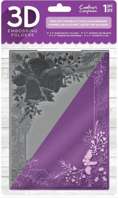 """Crafter's Companion 3D Embossing Folder 5"""" x  7""""-  Ring Out The Bells"""
