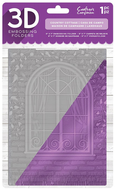 """Crafter's Companion 3D Embossing Folder 5"""" x 7""""- Country Cottage"""