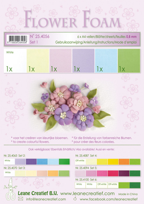 Leanne Creatief  Flower Foam Assortment 1 - Pastel 6 Sheets LCR25.4056