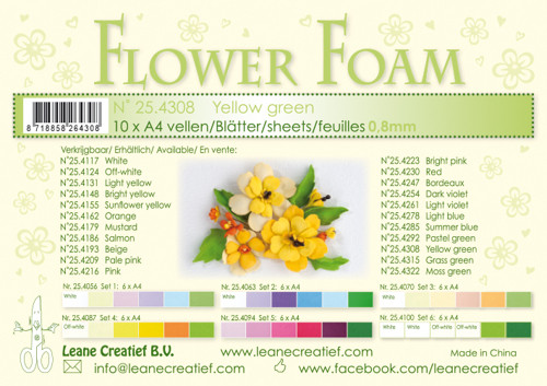 Leanne Creatief  Flower Foam Sheets  - Yellow Green