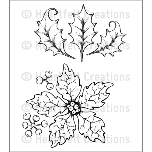 Heartfelt Creations Cling Rubber Stamp Set - Large Sparkling Poinsettia