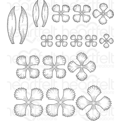 Heartfelt Creations Cling Rubber Stamp Set - Small Camelia Carnation HCPC-3806