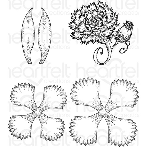 Heartfelt Creations Cling Rubber Stamp Set - Large Camelia Carnation HCPC-3807