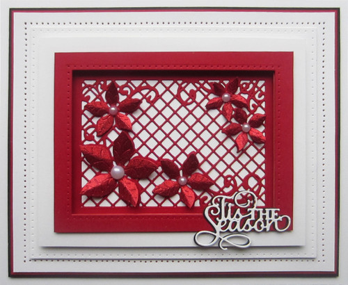 Sue Wilson Festive Collection - Lattice Poinsettia Background CED3135