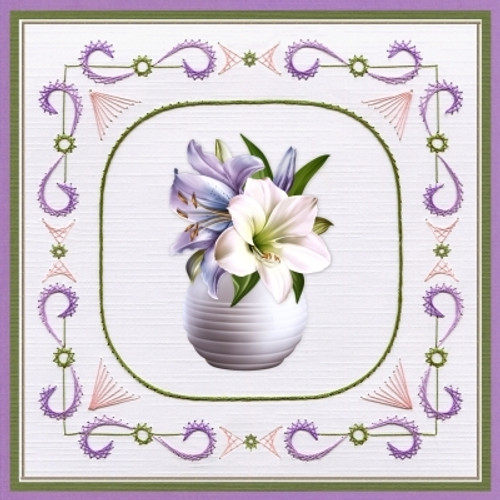 Ann's Paper Art 3D Card Embroidery Pattern Sheet #22 with Ann & Laura