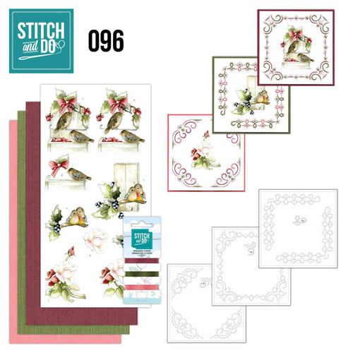 Stitch and Do 96 - Card Embroidery Kit - Winter Birds