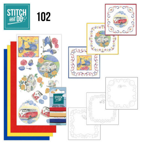 Stitch and Do 102 - Card Embroidery Kit - Oldtimers
