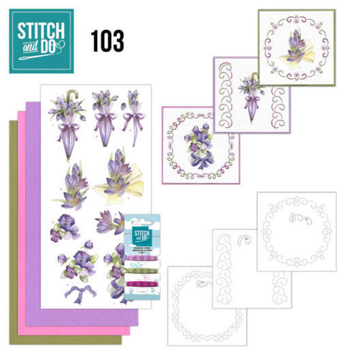 Stitch and Do 103 - Card Embroidery Kit - Purple Flowers