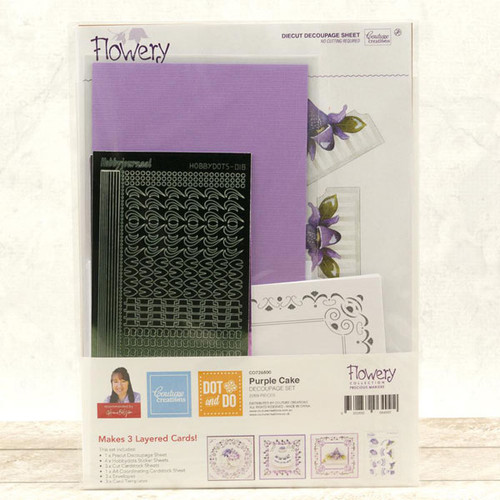 Dot & Do 3D Push Out Kit Precious Marieke Flowery Collection - Purple Cake