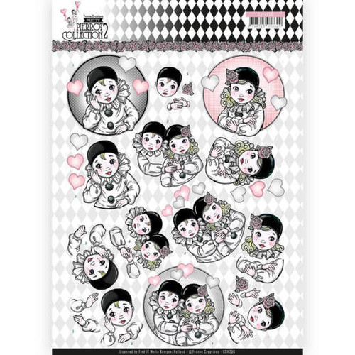 3D Sheet Yvonne Creations - Pretty Pierrot 2 - Thinking of You CD11256