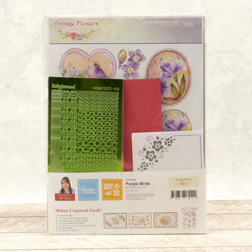 Dot & Do 3D Push Out Kit Vintage Flowers - Purple Birds