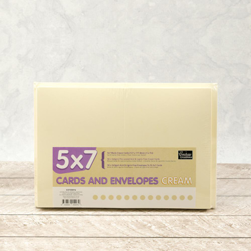"""Card & Envelopes Pack 5"""" x 7 Smooth Texture 50 Pack 240gsm - CREAM"""