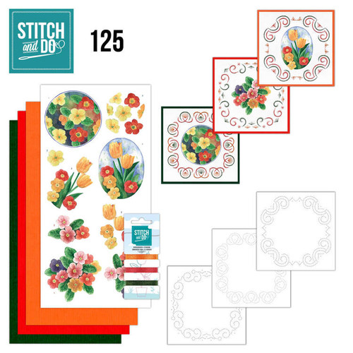 Stitch and Do 125 - Card Embroidery Kit - Spring Flowers