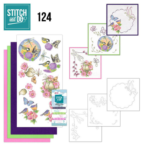 Stitch and Do 124 - Card Embroidery Kit - Happy Birds