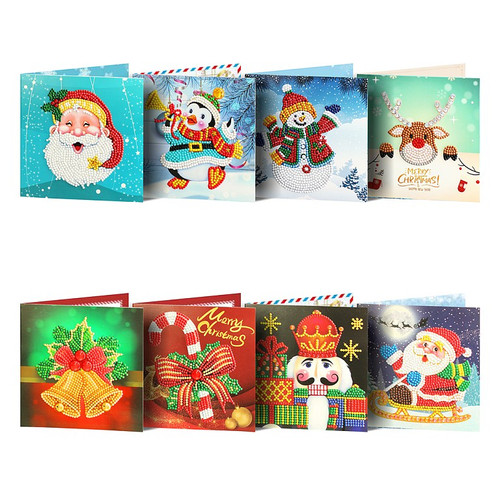 5D Diamond Painting Christmas Card Kit - Set of 8  150 x 150mm