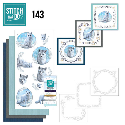 Stitch and Do 143 - Card Embroidery Kit - Winter Foxes