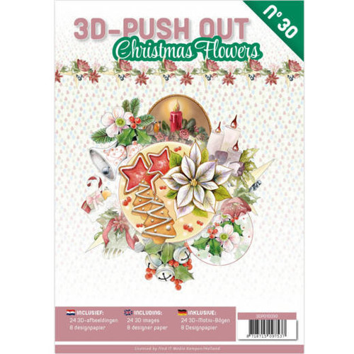 3D Push Out Book - Card Deco #30  - Christmas Flowers